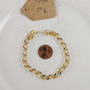 "Vintage 14kt Gold Plated 1/4"" Curb Chain Bracelet"